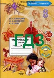 ГДЗ (Ответы, решебник) Робочий зошит Биология 8 клас Вихренко 2016. Відповіді к тетради онлайн