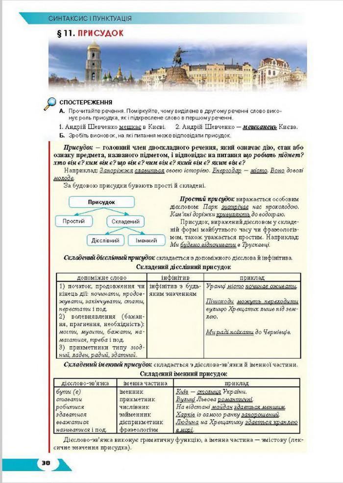 Підручник Українська мова 8 клас Авраменко 2016